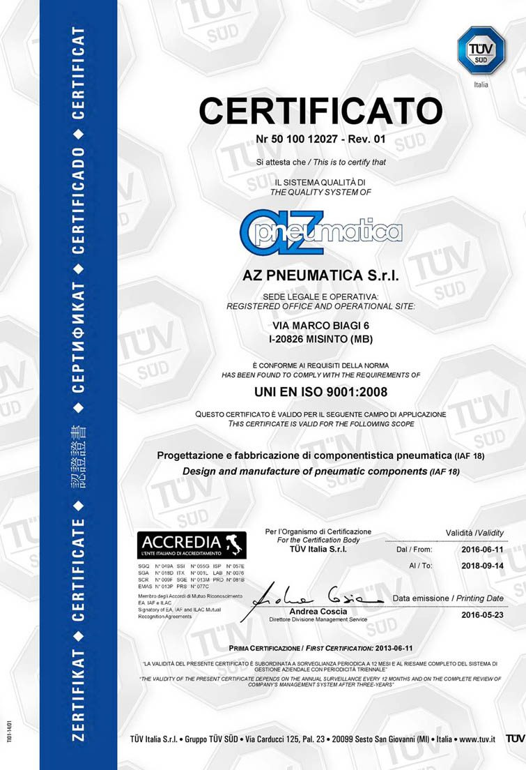 Az iso certification az pneumatica usa it manufactures products of the highest standard and design according to general company best practices throughout the whole manufacturing process xflitez Images